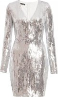 Quiz Women Sequin Bodycon Dress (Silver):