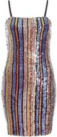 Quiz Women TOWIE Sequin Stripe Bodycon Dress (Purple, Gold and Pink):