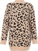 Quiz Women TOWIE Knit Leopard Print Jumper (Stone and Black):