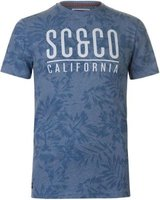 SoulCal Mens AOP T-Shirt (Denim Floral):