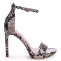 Linzi Ladies GABRIELLA Barely There Stiletto Heel With Slight Platform - Natural Snake: