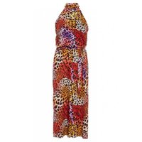 Quiz Ladies Leopard Print Halterneck Jumpsuit -Multicoloured: