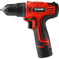 Casals 12V Cordless Drill with Extra Battery - 10mm Chuck (Red):