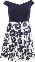 Quiz Ladies Curve Floral Skater Dress (Navy):