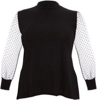 Quiz Ladies Curve Polka Dot Sleeve Top (Black):