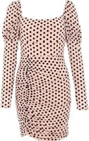 Quiz Ladies Mesh Puff Sleeve Dress (Pale Pink):