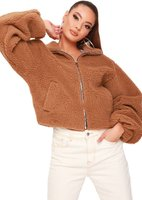 I Saw it First Ladies Cropped Balloon Sleeve Teddy Borg Jacket (Camel):