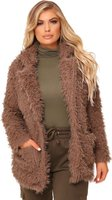 I Saw it First Ladies Teddy Borg Coat (Taupe):