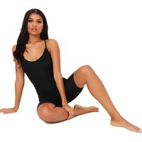 I Saw it First - Ladies Black Strappy Cross Back Ribbed Unitard: