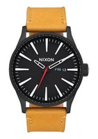 Nixon Gents Sentry Analogue Watch (Black & Goldenrod):