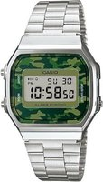 Casio Retro Digital Wrist Watch (Silver and Camo):