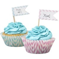 Chevron Divine - Cupcake Sticks - 15 Flags (Pack of 15):