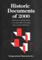 Historic Documents of 2000 (Hardcover, Revised edition): Cq Press