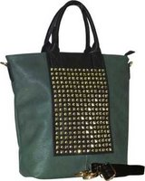 G Couture Studded Tote Bag (Green):