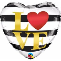 Love Horizontal Stripes Heart-Shape Foil Balloon (46 cm):