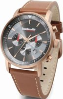 Lambretta Imola Men's Leather Wrist Watch (Rose Grey Face and Brown Strap):