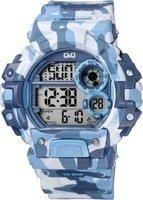 Q&Q Mens Multifunction Sport Wrist Watch with Blue and White Camouflage Face and Strap: