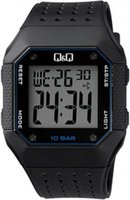 Q&Q Mens Multifunction Outdoor Boys Digital Wrist Watch with Black Face and Strap: