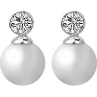 JD Pearl Earrings with Swarovski Crystals: