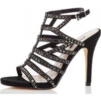 Quiz Women Faux Suede Diamante Heels (Black):