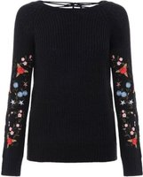 Quiz Women Embroidered Tie Back Knit Jumper (Black):