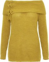 Quiz Women Bardot Lace Up Jumper (Mustard):