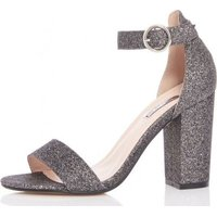 Quiz Women TOWIE Glitter Block Heel Sandals (Pewter):