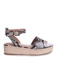 Linzi Ladies DESTINY Espadrille Inspired Two Part Flatform With Buckle Detail - NaturalSnake: