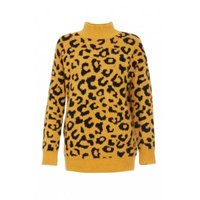 Quiz Ladies Leopard Print Jumperustard: