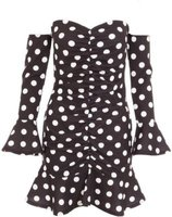 Quiz Ladies Petite Polka Dot Bardot Long Sleeve Dress (Black):