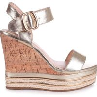 Linzi Ladies APRIL Cork Wedge With Gold & Rope Trim - Gold: