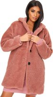 I Saw it First Ladies Oversized Borg Coat (Rose):