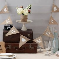 Vintage Affair - Mr & Mrs Hessian Bunting (Pack of 1):