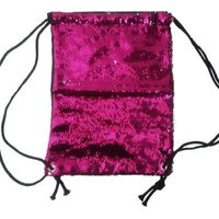 Sequin Drawstring Backpack (Hot Pink & Silver):