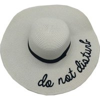 Social Concepts Summer Sun Straw Hat with Writing - Do Not Disturb (White):