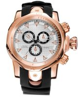 skone balfour rose gold chronograph mens sports watch-black silicone band:
