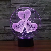 3D LED Night Lamp - I Love You Hearts: