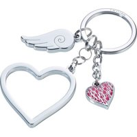 Troika Keyring with 3 Charms - Love Is In The Air (Silver):