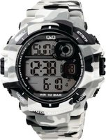 Q&Q Mens Outdoor Military Black & White Camouflage Wrist Watch: