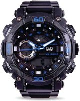 Q&Q Mens Multifunction Wrist Watch with Black Face and Strap with Blue Accents: