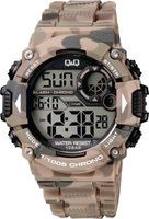 Q&Q Mens Multifunction Wrist Watch with Brown Camouflage Face and Strap: