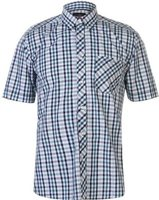 Pierre Cardin Mens Coloured Gingham Short Sleeve Shirt (Teal, Green and Navy):