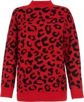 Quiz Women Knit Leopard Print Jumper (Red and Black):