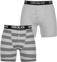 SoulCal Mens Boxers (Grey Marl and Stripe)(Pack of 2):