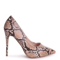 Linzi Ladies ASTON Classic Pointed Court Heel - Brown Snake: