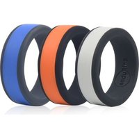 Enduring Mid Colour Silicone Wedding Ring - Set of 3 - X½: