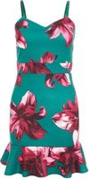 Quiz Ladies Petite Floral Print Frill Hem Dress (Green and Pink):