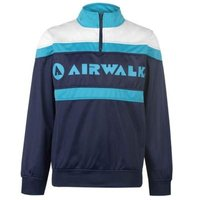 Airwalk Mens Quarter Zip Track Jacket (Navy and Teal) [Parallel Import]: