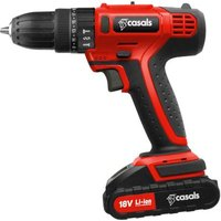 Casals 18V Cordless Impact Drill with 13 Drill Bits (Red):