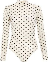 Quiz Ladies Polka Dot Mesh Bodysuit (White):